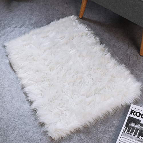 HAOCOO Faux Fur Sheepskin Rug Fuzzy Fluffy Rectangle White Area Rugs 2' x 3'Kids Carpet for Bedroom Living Room Floor Or Across Your Armchair Sofa Couch