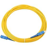 Tangxi SC-SC Fibre Jumper, 10m Cable de Fibra óptica Parche de conexión Óptica Simple Modo SC a SC, Amarillo