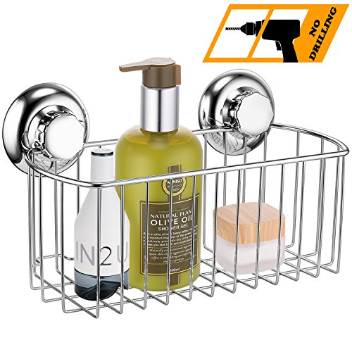 Deep Oil Drilling - MaxHold No-Drilling/Suction Cup Deep Rectangular Storage Caddy Organizer Basket - Vaccum System - Stainless Steel Never Rust - for Bathroom & Kitchen Storage