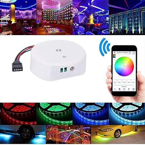 SODIAL Controlador Led Rgb, Controlador de Luces de Tira Led Bluetooth Rgb/Rgbw Dc 12-24V Mini Controlador Para Ios O Android Sistema de Teléfonos ...