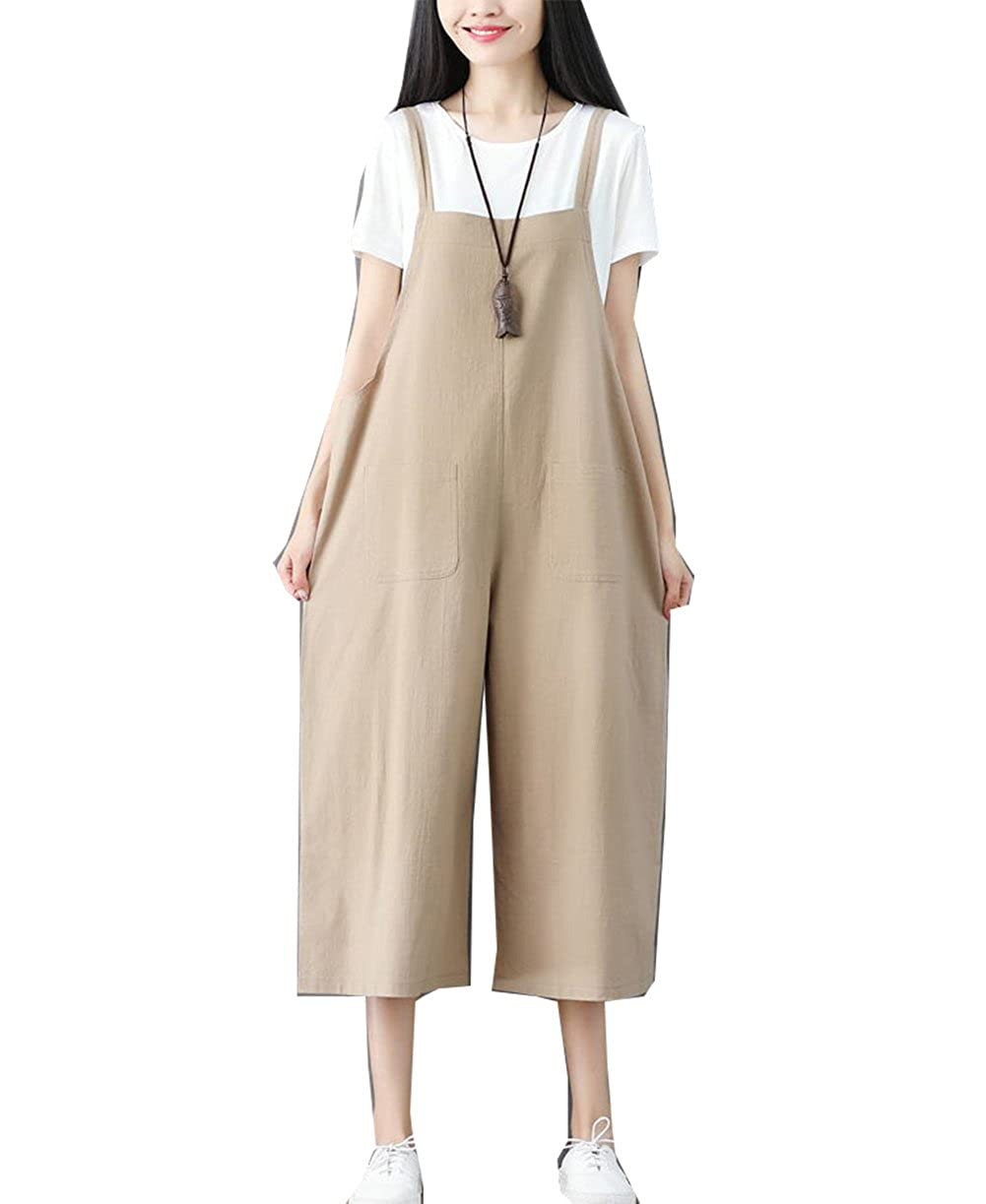 Siehin Women's Casual Loose Fit Cropped Wide Leg Bib Overall Linen Pants Jumpsuit