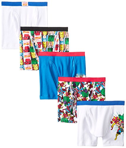 Marvel Little Boys' Superhero 5 Pack Boxer Brief, Assorted, (Superhero Boys)