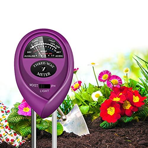 Medidor 3 en 1 de suelo ph, sol y humedad purpura