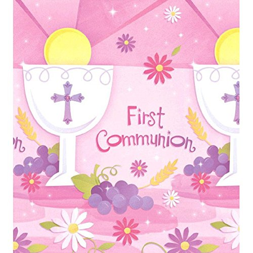 Amscan Pink First Communion Paper Table Cover Religions Party Tableware Decoration, Pink, 54