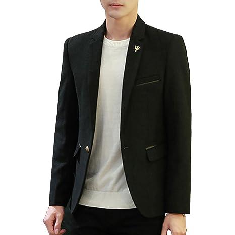 8e1777304 LINGMIN Men's 1 Button Center Vent Jacket Casual Slim Fit Tweed Blend  Blazer Jacket