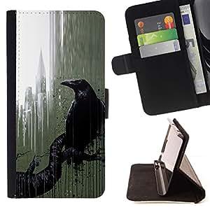 Momo Phone Case / Flip Funda de Cuero Case Cover - Ciudad Nyc Ventana Lluvia Arte Negro - Sony Xperia Z5 5.2 Inch (Not for Z5 Premium 5.5 Inch)