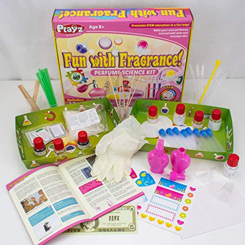 Playz Fun with Fragrance Perfume Making Science Kit for Kids - 13+ STEM Experiments & DIY Activities to Learn the Chemistry Behind Perfumes with 36 Page Lab Guide & 27+ Tools and Ingredients for Girls by Playz (Image #1)