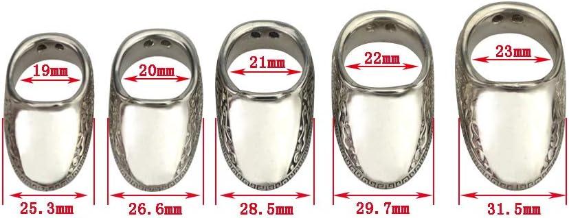 ZSHJG Tir /à larc Anneau de Pouce Traditionnel en Argent Onglet Doigt 5 Tailles Protecteur de Doigt indolore de la Main de larcher Chasse Tir tir /à larc Doigt Garde