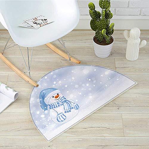 Winter Semicircle Doormat Kids Toddler Design Happy Snowman Cartoon Style Figure Merry Christmas Theme Halfmoon doormats H 43.3