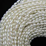 "4x6mm white freshwater pearl rice beads 15""strand"