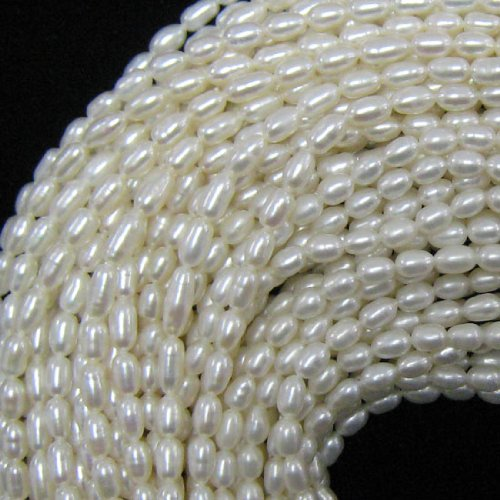 - 4x6mm white freshwater pearl rice beads 15