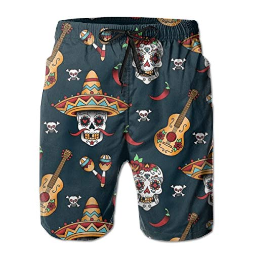 (YongColer Men's Guitar Pepper Sugar Skull Short Swim Trunks Best Board Shorts for Sports Running Swimming Beach Surfing Quick Dry Breathable Bathing Suits Beach Holiday Party Swim Shorts (L))