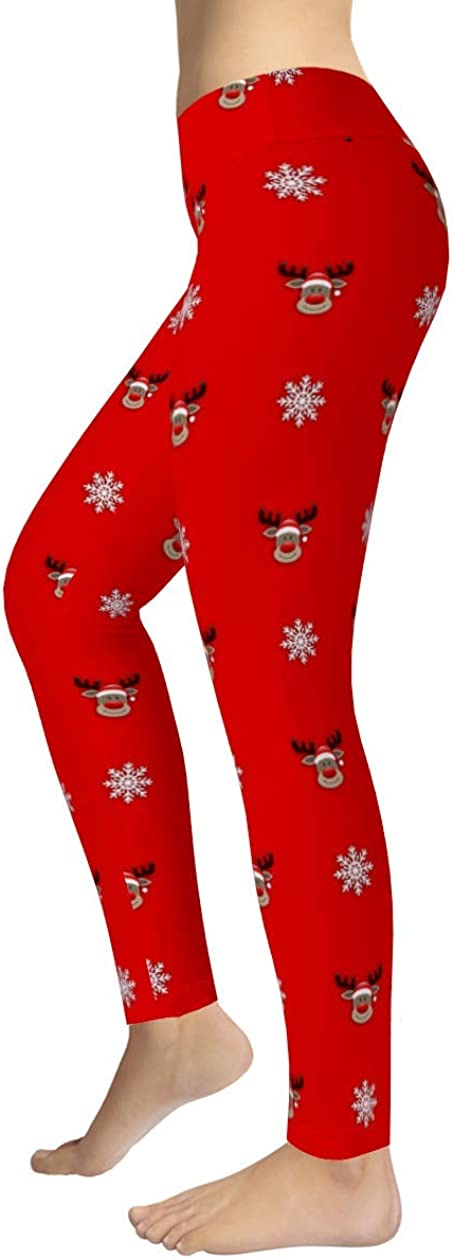 Funny Reindeer and Snow Christmas Leggings Sublimation All Over Printing Women High Waisted Leggings Gift