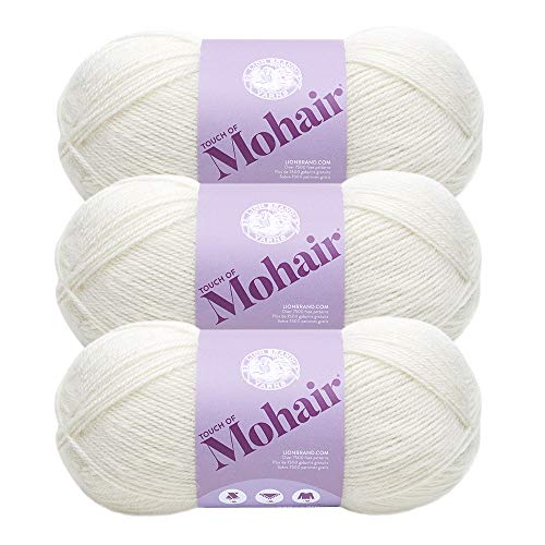 ((3 Pack) Lion Brand Yarn 677-098AG Touch of Mohair Yarn, Gardenia )