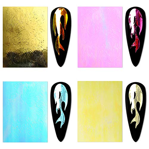 Modelones Flame Reflections Nail Stickers-16 PCS Fire Nail Decals for Gel Nail Polish Acrylic Powder Nail Art Holographic 3D Stickers with Tweezers Manicure Nail DIY Decoration