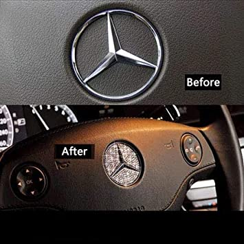 45MM MAXMILO Steering Wheel Logo Badge Emblem Cover Sticker for Mercedes-Benz A B C E S CLA CLS GLA GLC GLE GLK GLS Class Diamond Decoration