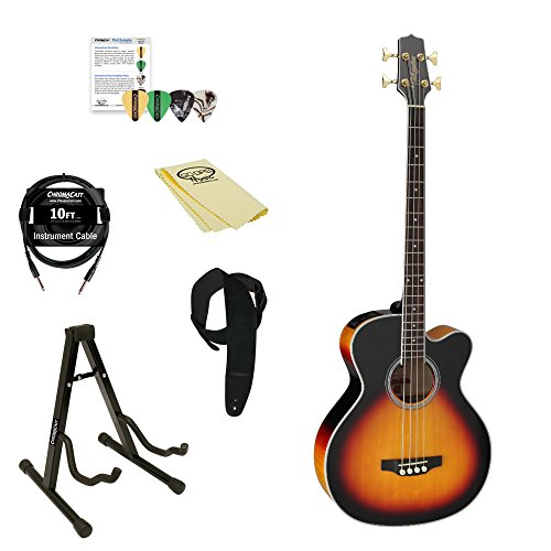 Takamine GB72CE BSB Jumbo Acoustic Electric Bass Guitar, Black Sunburst, with ChromaCast 4 Pick Sampler, Guitar Stand, 10' Cable, Suede Strap, & GoDpsMusic Polish Cloth ()