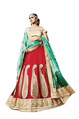 Da Facioun Womens Red Color Striking Lehenga Choli With Crystals Stones Work 79969