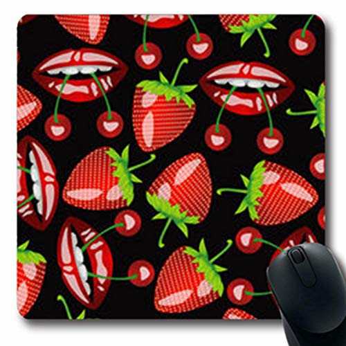 NOWCustom Oblong Mousepads Pattern Mouth Cherries Strawberries On Black Food Drink Tongue Oblong Shape 7.9 x 9.5 Inches Non-Slip Rubber Mousepad Gaming Mouse Pad