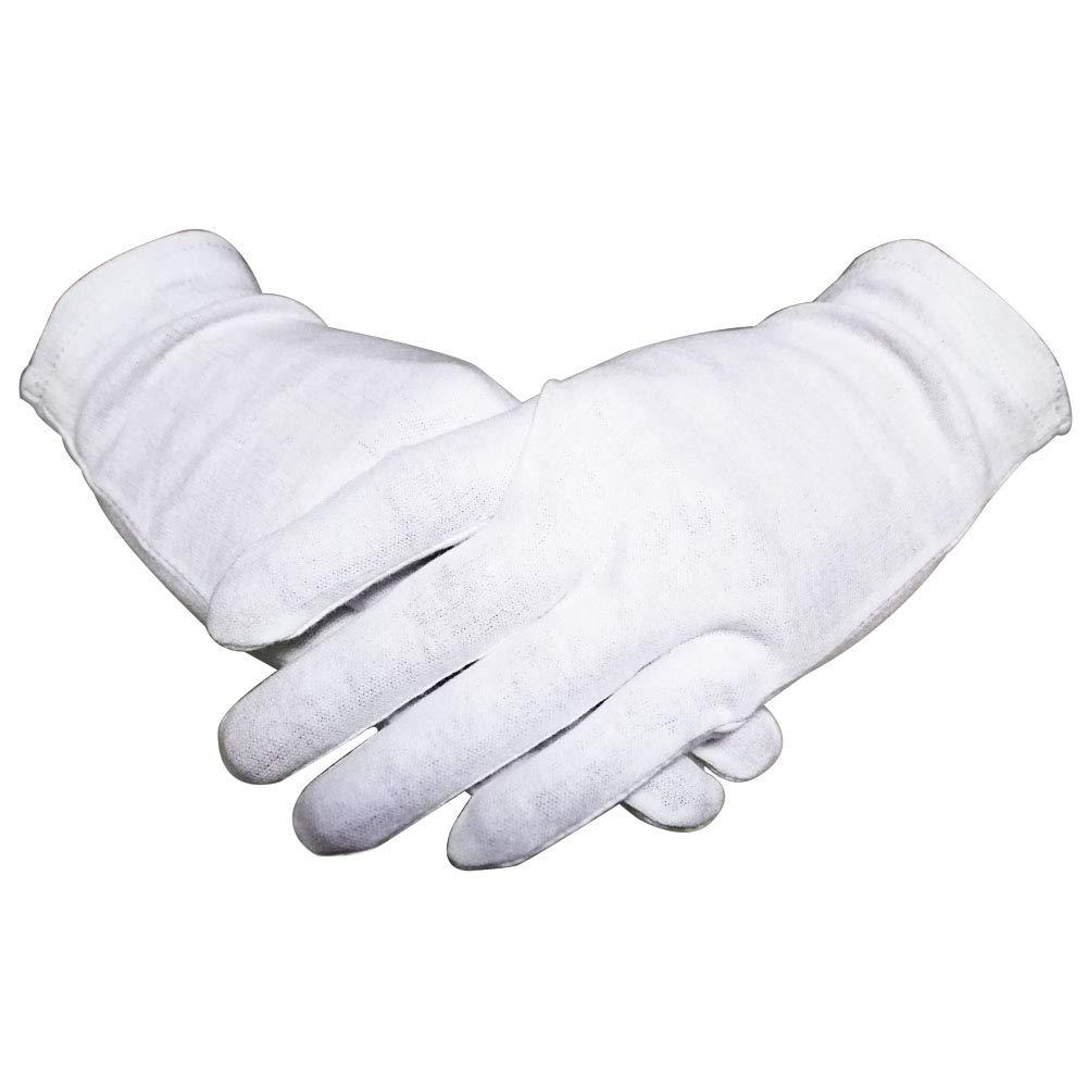 Thin White Cotton Gloves for Women Aloe Lotion Cosmetic Nighttime Sleeping Bulk 12 Pairs,Moisturizing Dry Hand Gloves Eczema 100% Cotton,Medium