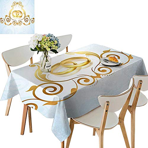 (UHOO2018 Polyester Fabric Tablecloth Square/Rectangle Style Victorian Ornaments Blue Rings Classical Light Blue Gold for Picnic,Outdoor or Indoor,50 x 72inch)