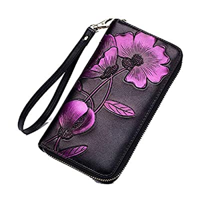 Energy Women's Floral Print Zip Around Trifold Wristlet Long Purse Purple OS: Ropa y accesorios