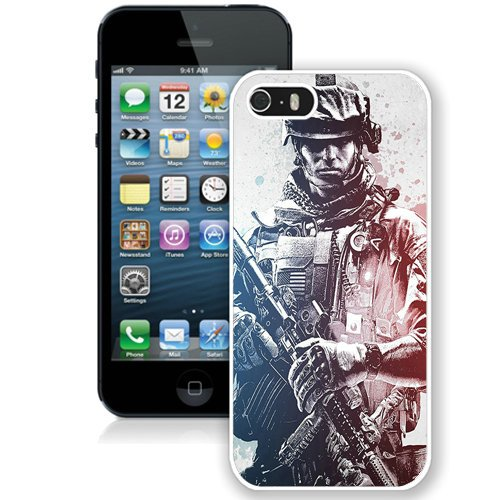 Coque,Fashion Coque iphone 5S Battlefield 3 Army Gun Noir And blanc blanc Screen Cover Case Cover Fashion and Hot Sale Design
