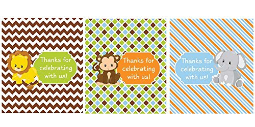 Lip Balm Labels Safari Animals Set of 45 (Oval Favor Labels)