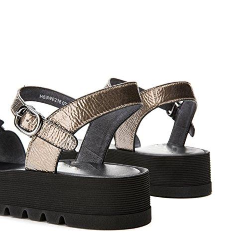 Sandali basso a donna Sandali tacco con DHG da tacco Pantofole moda Tacchi estivi alla alti basso casual piatti Sandali 36 Grigio xxI6qpwv