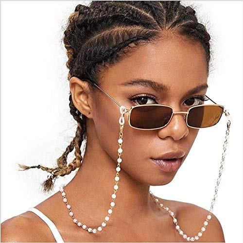 Cathercing Vintage Eyeglass Chain Necklace Pearl Beaded Eyewear Retainer Reading Eyeglass Holder Strap Sunglasses Holder Cords Eyewear Retainer Lanyards for Women Girls Elderly and Children Anti Slip