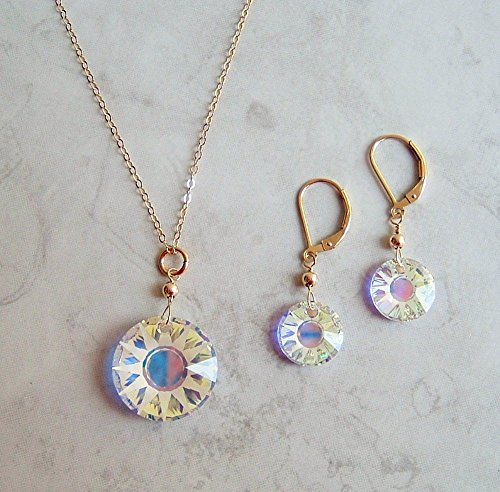 Sun Disc Earring (Multi AB Partial Frosted Round Sun Disc Swarovski Crystal Gold Filled Earring Necklace Set Gift Idea)