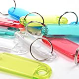 Cosmos ® Pack of 50 Assorted Color Coded Key Tag with Label Window Ring Holder with LCD Cleaner Stylus