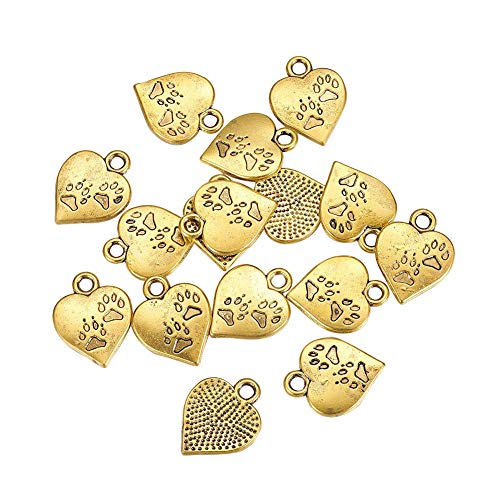 (B.D craft 50pcs 3mm Antique Golden Heart Pendants Alloy Love Heart with Paw Print Dangles Vintage Heart Charms for Bracelet Necklace Jewelry Making, 17x13mm )