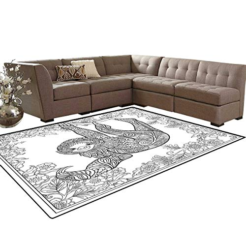 Sloth Bath Mat 3D Digital Printing Mat Outline Drawing of Sloth in Jungle Zoo Animal with Ornamental Details and Flowers Extra Large Area Rug 6'6