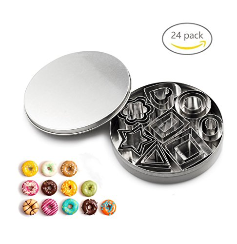ProTocol Stainless Metal Cookie Biscuit Cutter Mousse Dessert Cake Mini Geometric Shapes DIY Mold for Kitchen Baking Halloween Easter & Christmas (24 pcs) (Diy Halloween Cookies)