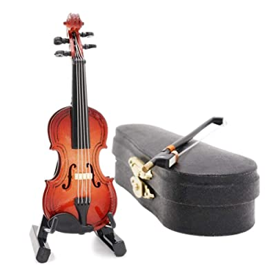 Difcuy 1/12 Doll House Wooden Violin with Stand Bow Case Model Mini Music Room Decor: Toys & Games
