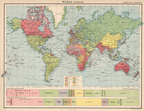 World Atlas Map, Frontispiece: World Political. 1923 | Historic Antique Vintage Map Reprint | 24in x 18in
