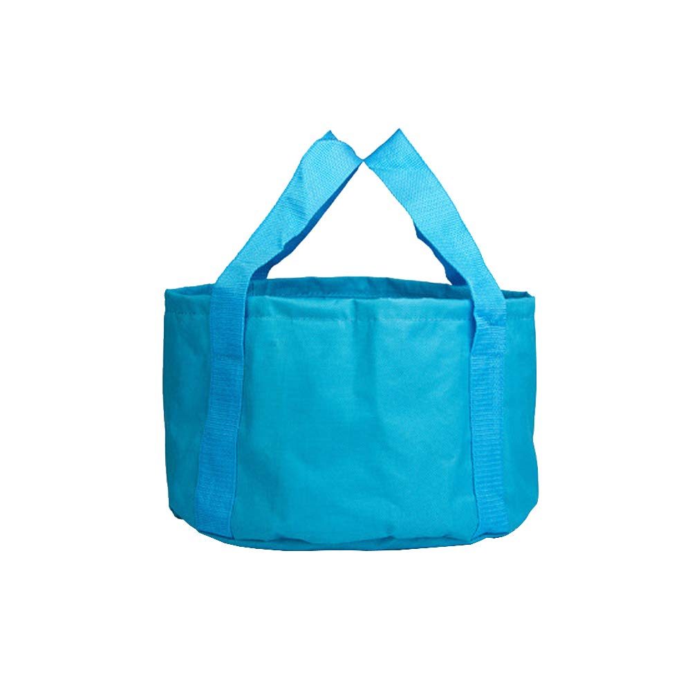 Multifunctional Collapsible Portable Travel Outdoor Wash Basin Folding Bucket for Camping Hiking Travelling Fishing Washing Blue