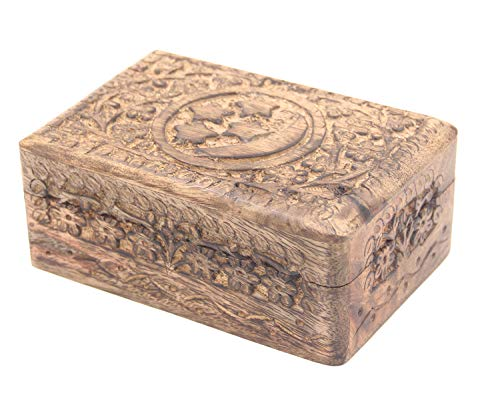 DharmaObjects Celestial Moon and Stars Hand Carved Wooden Storage Keepsake Box (Medium, Moon & Stars)