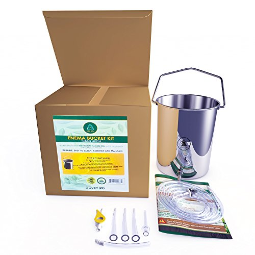 Stainless Steel Enema Kit by D-LIFEFORCE | 2qt Stainless Steel Enema Bucket & 6.2ft Silicone Tube | for Gerson Therapy, Water & Coffee Enema, Colon Cleanse Detox, Enema Implants & Retention Enema