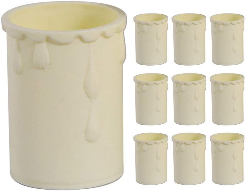 Fits Most Lampholders Molten Wax Vintage Effect Britalia 10 Pack Cream Candle Drip Sleeve Tubes for Light Diameter 33mm x Height 50mm Thermoplastic,