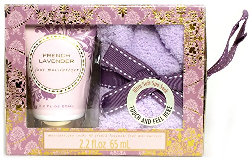 Cozy Sock and Foot Lotion Care Package Gift Set – 3 Pieces – French Lavender