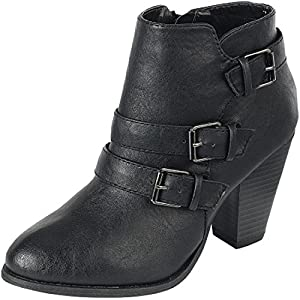 80549b364 SNJ Women's Lace up Fashion Collar Chunky Heel Ankle Bootie Trends ...