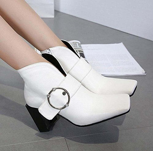 Ankle Heel Shoes Shoes 5cm Eu Buckle Winter 8 Chunkly Bootie Women Dress 2017 Court Fashion New Toe And Belt Square Size 43 Zipper White 32 Autumn 8qnEX