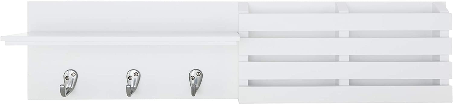 Kiera Grace kieragrace Sydney Mail Shelf, 3 Hooks Wall Organization, White