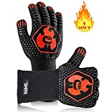 Mr. Smith BBQ Comfortable Cotton Inside Grill Gloves Protects to 1472 ºF, 1 Pair, Black, Red