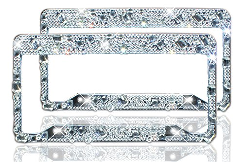 Bling License Plate Frame 2 Pack – Pure Handmade Waterproof Glitter Rhinestones Diamond Crystal License Frames plate for Both Front and Back License T…