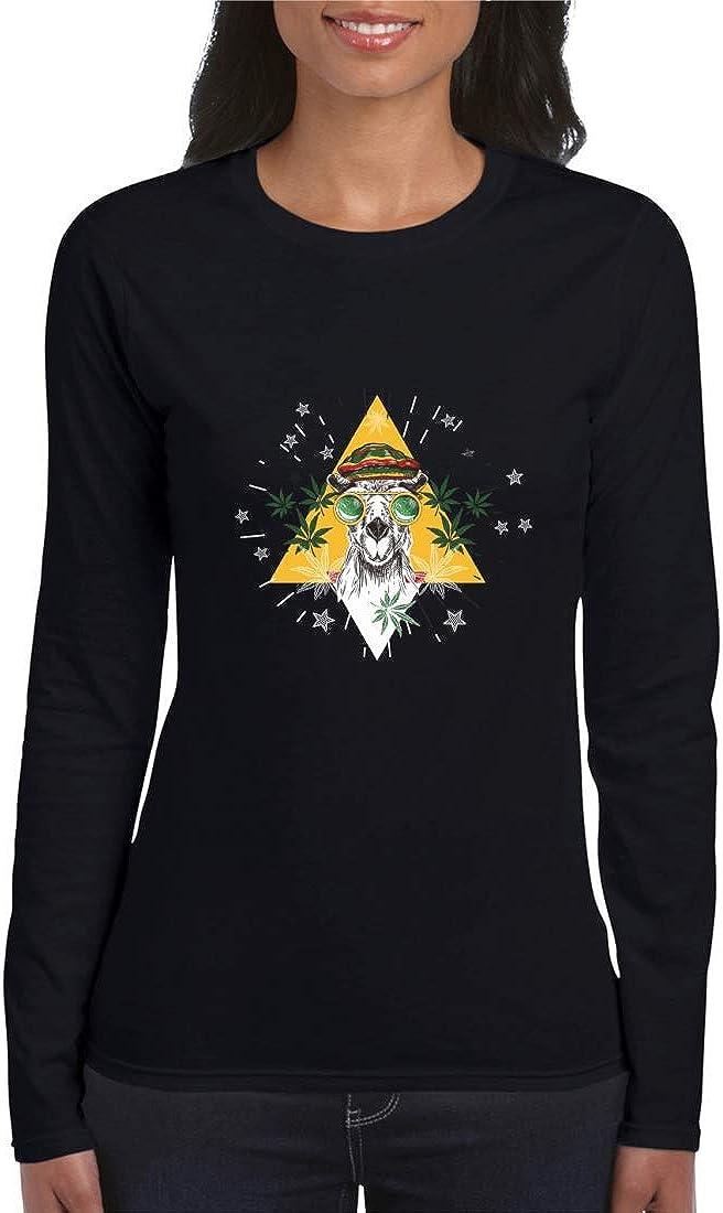 Druckerlebnis24 Camiseta de manga larga – Camel Marihuana gafas Jamaica – Manga larga para mujer y mujer