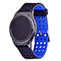 Moretek Quick Release Smartwatch Bands for Samsung Gear S2 Classic and Moto 360 2nd Mens 42mm Replacement Strap (Blackblue)