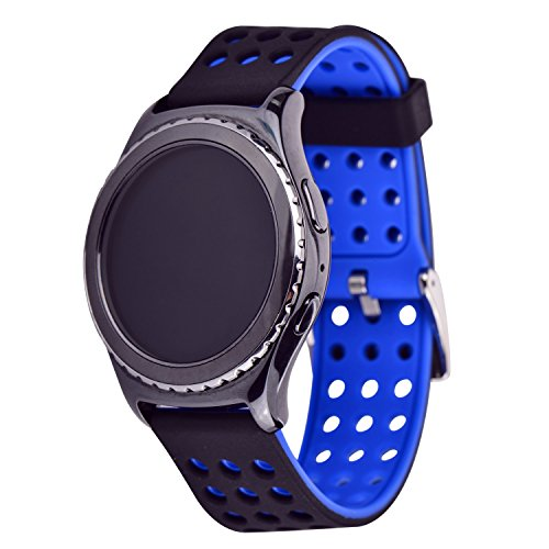 Moretek Sport Watch Bands Quick Release Wrist Strap Silicone Replacement Bands for 20mm 22mm Smart Watch (Black+Blue, 20mm)